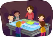 Illustration of Kids Having Fun with an Interactive Surface Table
