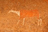 Bushmen (san) rock painting of an antelope, Drakensberg mountains, South Africa
