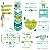Set of Wedding Cards - Feather, Arrows and Heart Theme - in vector
