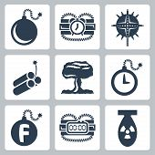 Vector Isolated Bombs Icons Set