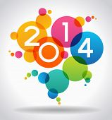 Vector 2014 Happy New Year background.  The file is saved in the version AI10 EPS. This image contai