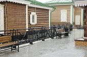 Wooden house with shutters and carving frames Irkutsk