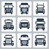 stock photo of car carrier  - Vector isolated trucks icons set - JPG