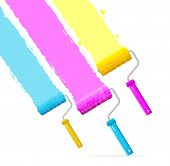 Vector roller brushes with CMYK paint