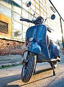 Budapest, Hungary - July 09: Old Vespa Scooter Parked In A Street In Budapest, Hungary On July 09, 2