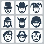 Vector Profession Icons Set: Magician, Cowboy, Jester, Knight, Viking, Soldier, Paratrooper, Pirate,