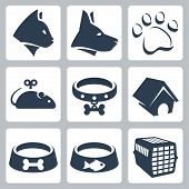 stock photo of caged  - Vector pet icons set - JPG