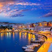 Calasfonts Cales Fonts Port sunset in Mahon at Balearic islands