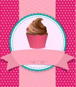 retro cupcake on striped background
