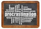 procrastination word cloud on a vintage blackboard isolated on white