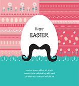 Background and greeting card with hipster Easter egg