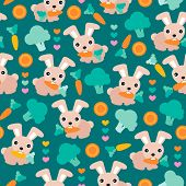 foto of dessin  - Seamless kids rabbit garden and carrot illustration background pattern in vector - JPG
