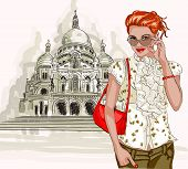 Pretty fashion girl on a Basilique Du Sacre Coeur background