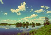 beautiful summer lake landscape in Russia - vintage retro style
