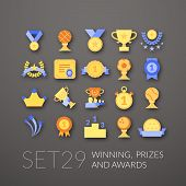 stock photo of prize  - Flat icons set 29  - JPG