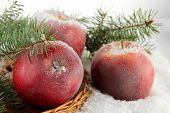Red apples with fir branches on wicker stand on snow close up