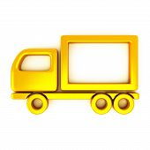 Golden truck icon, 3d