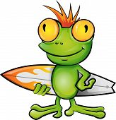 pic of orange frog  - crazy frog cartoon surfer on white background - JPG