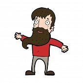 cartoon man with beard waving