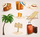 Set of vacation related icons.  Raster version