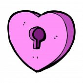 cartoon heart with keyhole