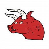 cartoon angry bull head