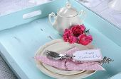 Happy Mothers Day Aqua Blue Breakfast Morning Tea Vintage Retro Shaby Chic Tray Setting With Antique