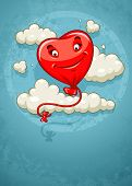 red heart baloon flying among clouds retro. Rasterized illustration.