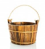 Wooden bucket on white background