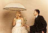 Romantic Married Couple Bride Groom On Gray Background