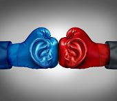 foto of pry  - Listen to your competition business concept with a red and blue boxing glove with a human ear symbol listening and analizing information from a competitive environment as a metaphor for planning tactics and strategy - JPG