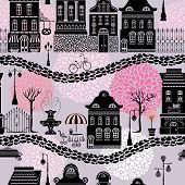 Seamless Pattern With Fairy Tale Houses, Lanterns Silhouettes, Trees. City Endless Background. Ready