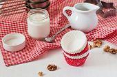 Baking Utensils Like Cake Forms, Milk Jug, Teaspoon, Yoghurt