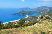 Aerial view of Oludeniz bay on the Mediterranean coast of Turkey