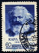 SOVIET UNION, CIRCA 1958: Postage stamp printed in Germany of Karl Marx, circa 1958