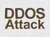 Security concept: DDOS Attack on fabric texture background