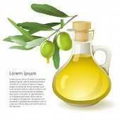 Bottle with olive oil over white background