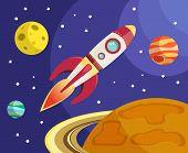 Rocket in space print