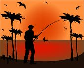 Fisherman Silhouette On Sunset Background