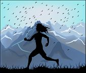 Silhouette Of A Running Athlete On The Background Of Mountains