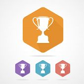 Vector prize Trophy cup flat icon. long shadow.