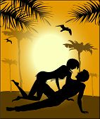 Silhouette Of Lovers On A Sunset Background