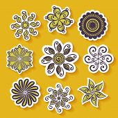 Vector Set of Stickers with Ornamental Circles
