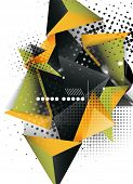 Geometric triangle 3d design, abstract background. Hi-tech, business or vintage layout