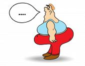 pic of skinny fat  - The fat man on a white background - JPG