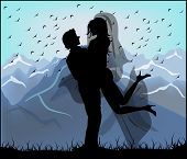 Silhouette Of Bride And Groom On The Background Of Mountains