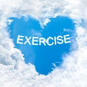 Love Exercise Word On Blue Sky