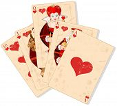 stock photo of flush  - Illustration of Hearts royal flush - JPG
