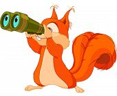 Illustration of very cute squirrel are watching into binocular