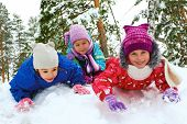 Winter Fun, Snow, Children Sledding At Winter Time